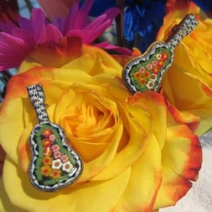 Vintage Mosaic Glass Flower Italy Guitar Pins
